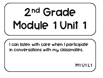 Expeditionary Learning Module 1 Units 1-3 I Can Statement Cards