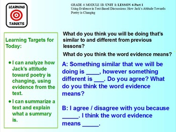 Expeditionary Learning Module 1B, 4th grade ELA, Unit 1, Lesson 4