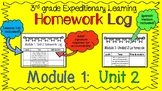 Engage NY Expeditionary Learning Module1:  Unit 2 Homework Log