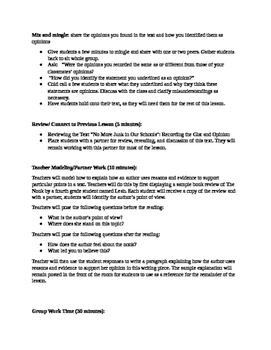 Expeditionary Learning Opinion Writing Module 3a Unit 3