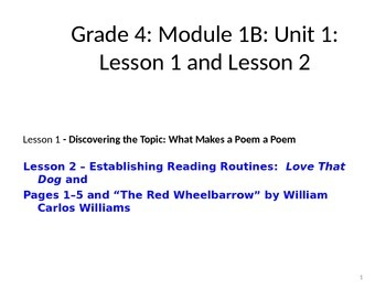 Expeditionary Learning Unit 1B, Module 2 Lessons 1 and 2 - Grade 4