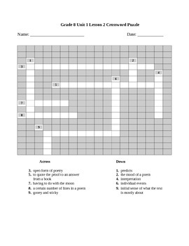Expeditionary Learning Vocabulary Crossword Puzzle Bundle, Module 1, Unit 1