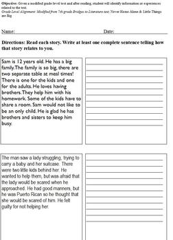 Experience Related to Text Worksheet; Differentiated Middle School Special Ed
