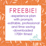 Experience plan- with prompts, editable, professional, links to EYLF