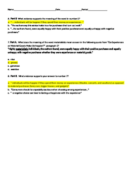Experiences or Material Goods PARCC-like quiz with use LA Guidebook lesson 5