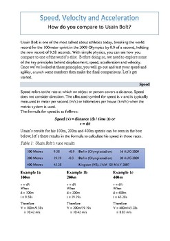 Experiment - Compare your speed, velocity and acceleration to Usain Bolt's