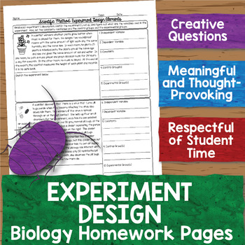 Experiment Design Biology Homework Worksheets