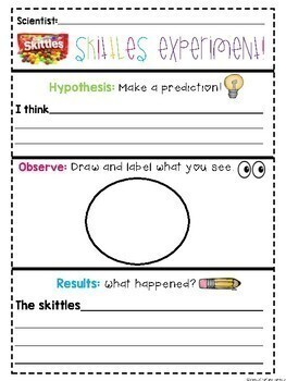 Experiment Recording Sheets: Skittles and Cornstarch Science Experiments