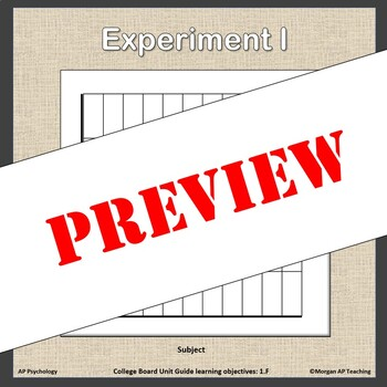 Experiment & Statistical Analysis - AP Psychology (AP Psych) - Unit 3