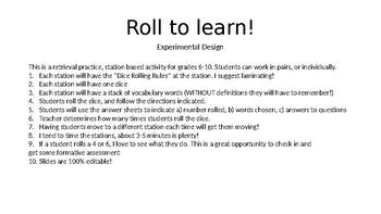 Experimental Design Activity Station Retrieval Practice