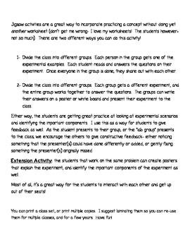 Experimental Design Jigsaw Group Activity