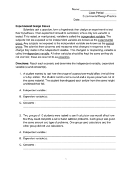 Experimental Design Worksheet by The Secondary Science Teacher | TpT
