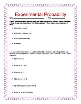 Experimental Probability w/ Answer Key