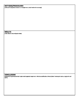 Experimental and Lab Graphic Organizer