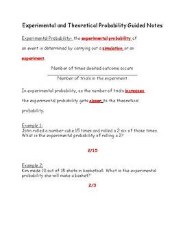 Experimental and Theoretical Probability Notes and Practice