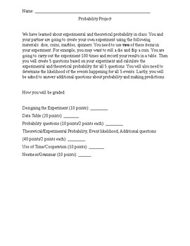 Experimental and Theoretical Probability Project