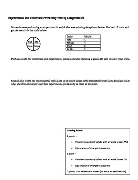 Experimental and Theoretical Probability Quiz