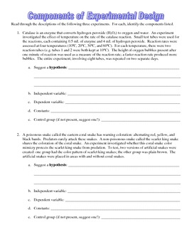 Experimental design: Components of experimental design homework with key