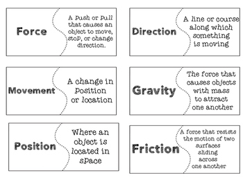Experimenting with Forces Vocabulary
