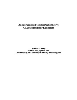 Experiments in Electrochemistry - Lab Manual
