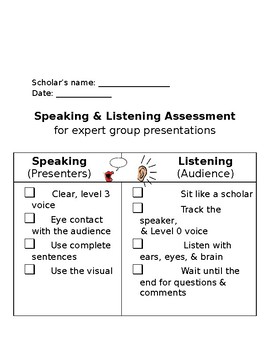 Expert Group (small group work) reflection resources