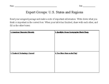 Expert Groups: U.S. States and Regions