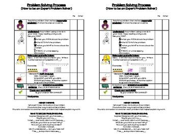 Expert problem solving rubric with sentence stems..PDF file
