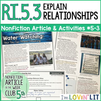 Explain Relationships in a Text | RI.5.3 Nonfiction Article + Activity Pack #5-3
