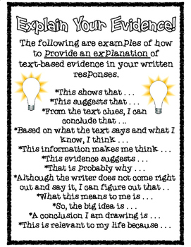 Explain Your Evidence: Explanation Starters for Text-Based Writing
