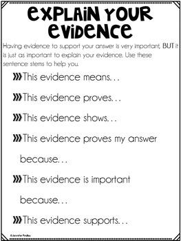 Explain Your Evidence Poster Set