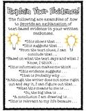 Explain Your Evidence Text Based Writing Sentence Starters