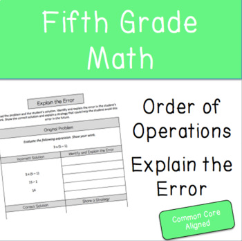 Explain the Error- Order of Operations