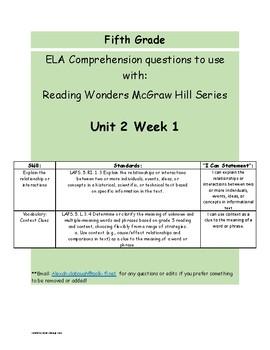 Explain the Relationships Reading Wonders Series Grade 5 U2W1