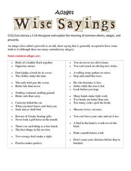Explaining Adages and Proverbs Language L5.5b L4.5b Activi