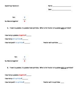 Explaining Fractions - Elelmentary Word Problem Worksheets