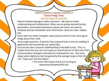 Explaining Speech Language Evaluation Results for Parents