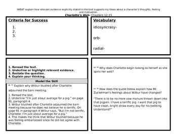 Explaining Text Evidence using Charlotte's Web Chapters 12-15