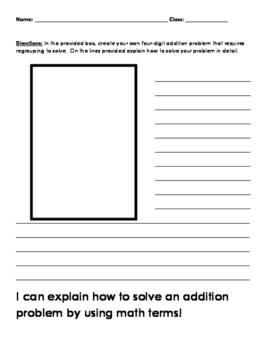 Explaining how to solve an addition problem worksheet