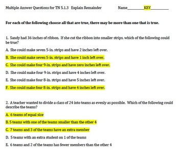 Explaining the Remainder in a Division Prob., Multiple Answer Questions TN 5.1.3