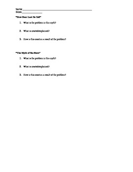 Explanation Myths Worksheet *Accompanies Explanation Myths PowerPoint