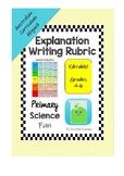 Explanation Writing Rubric - Editable