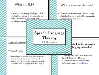 Explanation of Speech Language Therapy Powerpoint - For Inservices, Etc.