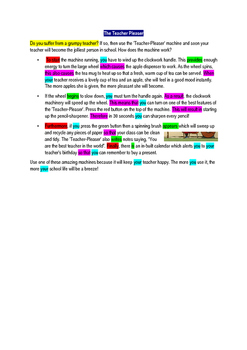 Explanation text model text and colour coding