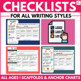 Writing Checklists | All Text Types | All Ages | Rubrics | Self Assessment Tool