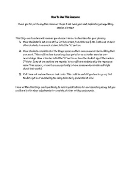 Explanatory Essay Peer Editing Bingo