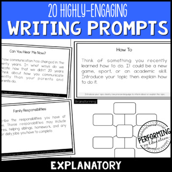 Explanatory Informational Writing Prompts for Grades 3, 4, 5 with Brainstorming