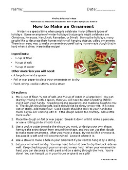 Explanatory Passage with Questions - How to Make an Ornament