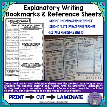Explanatory Writing Criteria Bookmarks and EDITABLE Reference Sheet