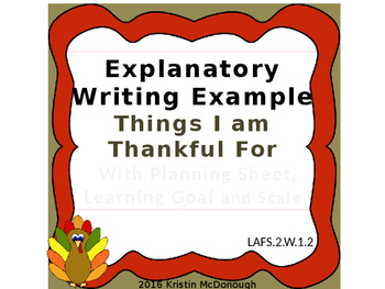 Explanatory Writing Example Powerpoint, Things I am Thankful For