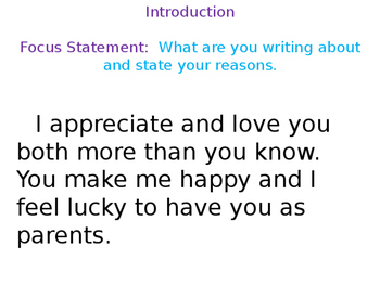Explanatory Writing Example; Reasons I Love You Mom and Dad